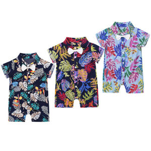 Details about Newborn Baby Boys Summer Short Sleeve Print Romper Gym Jumpsuits Hawaiian Shirt