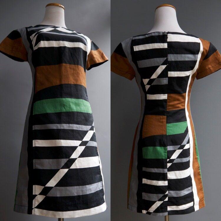Derek Lam Mod Geometric Graphic Multi ColGoldt Linen Cotton Dress sz XS 2