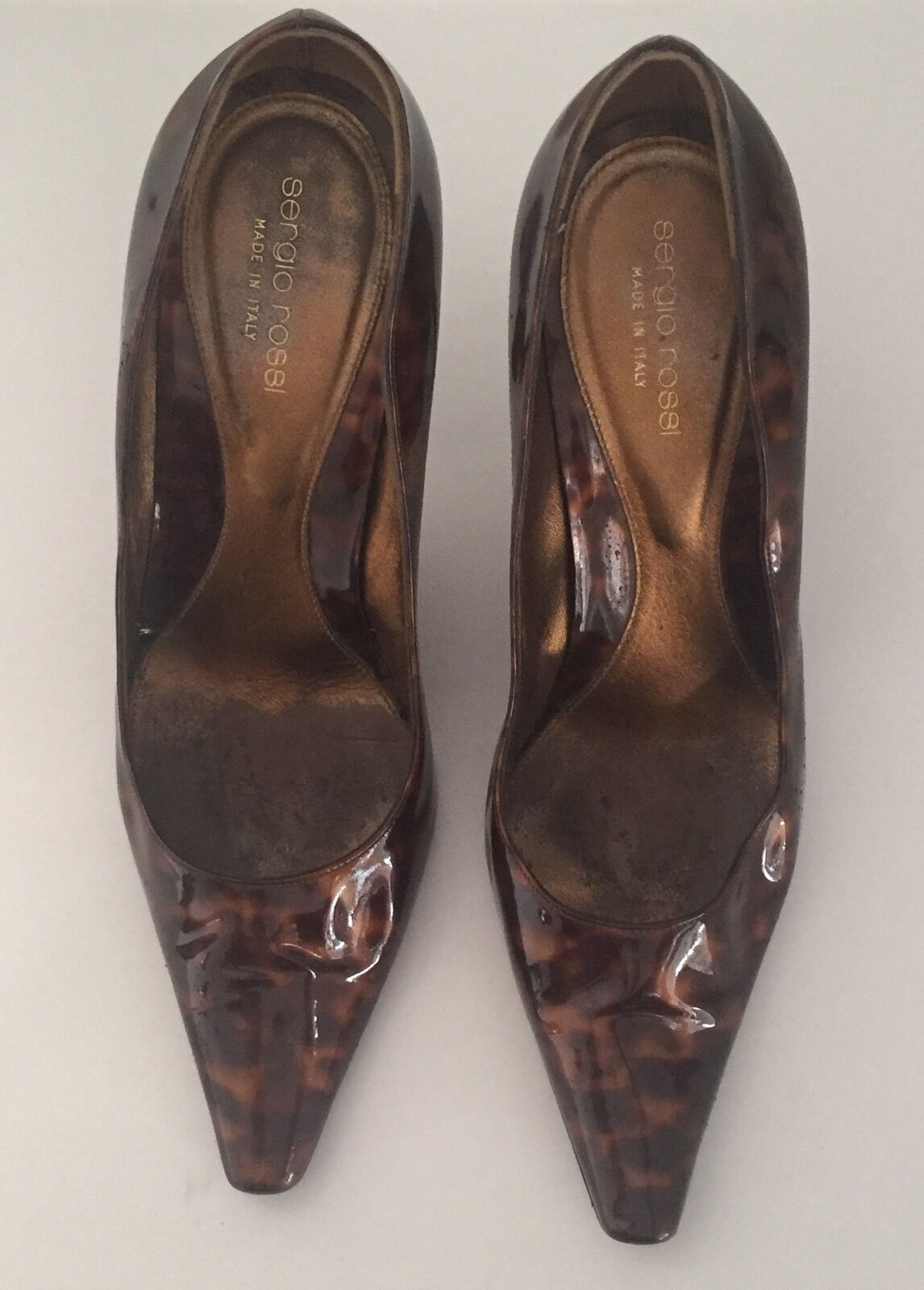 SERGIO ROSSI ANIMAL PRINT PATENT LEATHER CLASSIC HEEL PUMP SZ 38.5 EXCELLENT