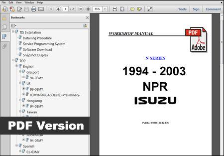 ISUZU NPR 1994 1995 1996 1997 1998 1999 2000 2001 2002 2003 OEM SERVICE MANUAL