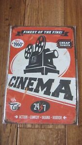Metal-tin-1960-Projector-SIGN-Wall-Decor-Poster-Finest-of-the-Fine-CINEMA