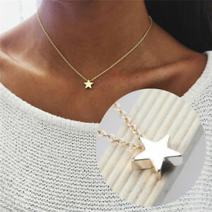 WOMENS-LADIES-SILVER-GOLD-TONE-SIMPLE-STAR-CHAIN-PENDANT-NECKLACE-UK-SELLER
