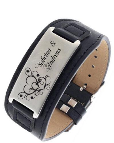 Box regalo nuevo ID de cuero de acero inoxidable pulsera negro con grabado según preferencias