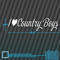I heart Country Boys - Vinyl Decal Sticker Truck Love Cute Cow Music Mud Bumper