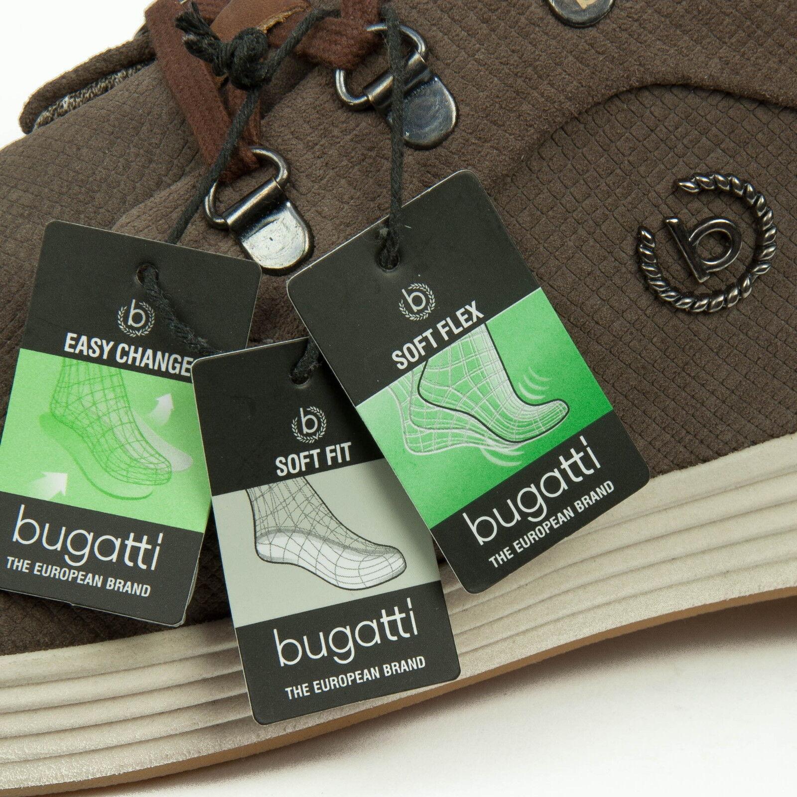 Bugatti Herrenschuhe Sneaker Schnürschuhe Leder Taupe 322-28401-1400-1400