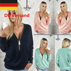 DE-Damen-Reissverschluss-Laessig-Casual-Pullover-T-Shirt-Sweatshirt-Strickjacke