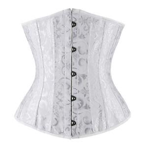 73da5cead8 Image is loading Plus-Size-White-Jacquard-Bridal-Underbust-Corset-Spiral-