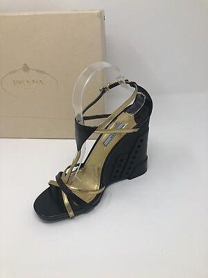 $850 New Prada Womens Shoes Black Gold