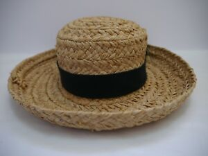 bc6b1210193 HELEN KAMINSKI natural braided raffia sun hat with black ribbon band ...