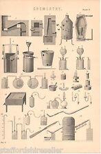 Antique Victorian Print c1880 Chemistry Laboratory Equipment 2