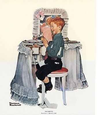 Norman Rockwell Little Brother And Diary Print SECRETS