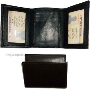 new trifold leather man s wallet 9 credit card space 2 id windows 2
