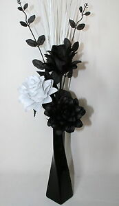 Artificial Silk Flower Arrangement Black White Flowers In Silver Or