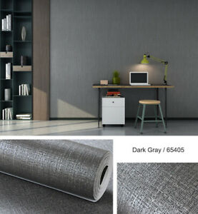 Gray-Vinyl-Plain-Flax-Textured-Wallpaper-Modern-10M-Living-Room-Bedroom-3D-Decor