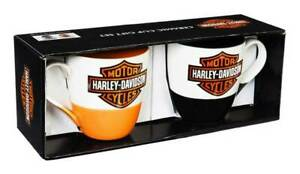 Harley-Davidson® 16 oz Black /& Orange Two Ceramic Java Cup Gift Set 3MCF4900