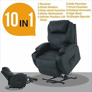 Image is loading Recliner-Leather-Massage-Armchair-Power-Lift-Chair-Wall-  sc 1 st  eBay & Recliner Leather Massage Armchair Power Lift Chair Wall Hugger ... islam-shia.org