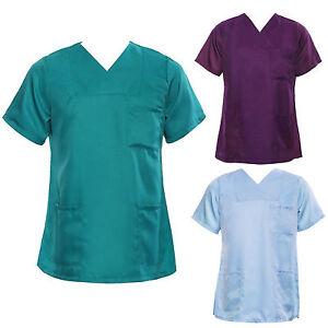 Medical-Nursing-Men-Women-Scrub-Top-Hospital-Nurse-Clinic-Uniform-Shirt