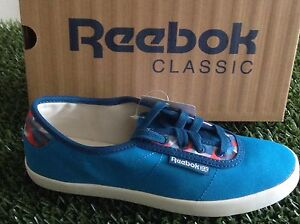 ee3ba492b03 WOMENS AUTHENTIC REEBOK CLASSIC NC PLIMSOLE GEO BLUE CANVAS TRAINERS ...