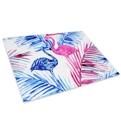 Pink Floral Flamingo Blue Glass Chopping Board Kitchen Worktop Saver Protector