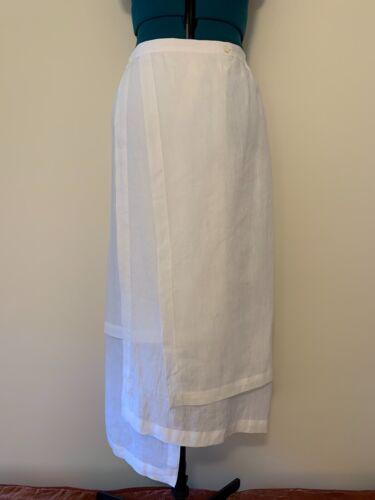 Shirin Guild Ivory Linen Skirt Sz L