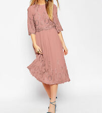 BRANDED TALL PREMIUM Midi Embroidered Cocktail Dress in Pink UK 10/EU 38/US 6