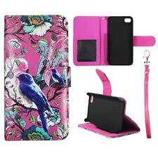For Iphone 4 4S Wallet Pink Flower Bird Cover Split Leather Case Uni