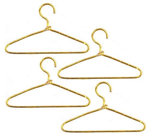 ropa de casa de muñecas accesorio Miniatura Reino Unido 4 alambre de oro Perchas