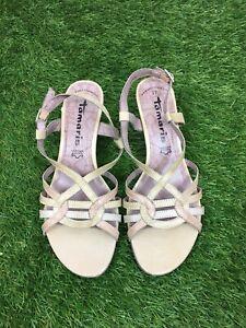 Tamaris-Size-4-Euro-37-Beige-Strappy-Kitten-Heel-Sandals-Slingback