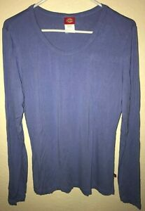 women-039-s-size-smalL-BLUE-LONG-SLEEVE-TOP-shirt-by-DICKIES-stretch-SOLID-COLOR