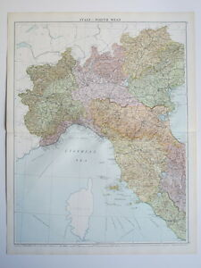 Map Of North West Italy.1920 Map Italy North West Large Colour Map Gross Ebay