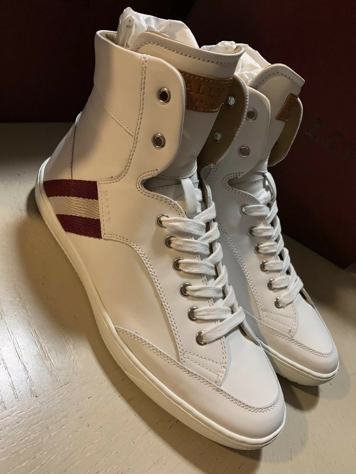New  Bally Men Oldani Leather High-Top Sneakers White 8 US