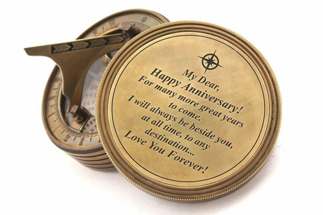 Sundial Brass Compass W Leather Case Quote
