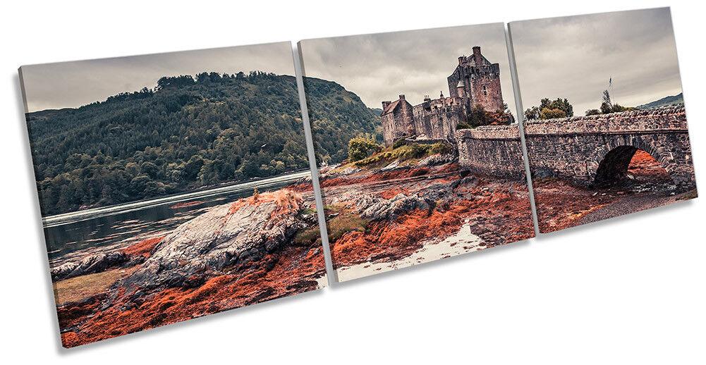 Eilean Donan Castle Highlands Picture CANVAS WALL ART Triple Print