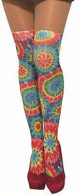 Romantico Donna Rainbow Tie Dye Hippy Hippie 60s 1960s Costume Collant Calze Calzini-mostra Il Titolo Originale
