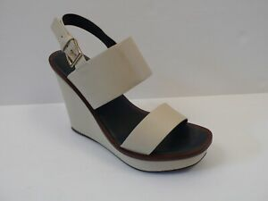 cd665be5ec15 TORY BURCH Women s Ivory Lexington Leather Wedge Slingback Sandal Sz ...