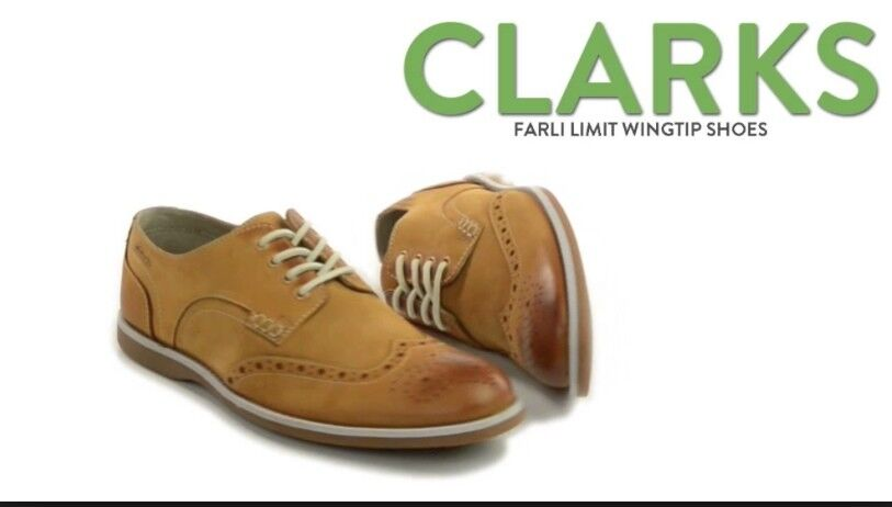 CLARKS FARLI LIMIT LIMIT LIMIT LEATHER WING TIP OXFORD TAN - Size 9 3b1f2a