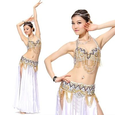 2 pcs set Bra Top with Hip Belt Chain Sequins Belly Dance Costume 11 colors