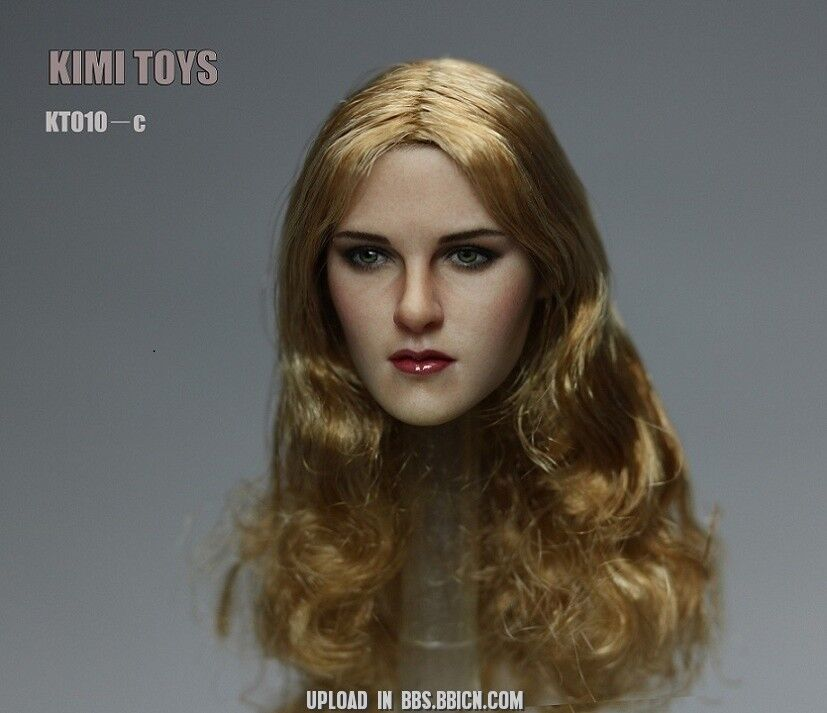 1 6 6 6 Female Head Sculpt Long Blonde Hair KIMI KT010 C For Hot Toys Phicen U.S.A. 2517af