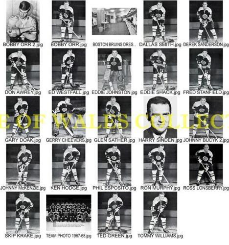 1967-68 BOSTON BRUINS PLAYER PHOTOS WITH TEAM PHOTO....LOT OF 24-4X6 PHOTOS