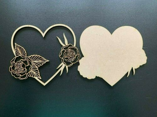 Wooden MDF Heart Plaque with Rose Craft Laser Cut Mothers Day Birthday Gift