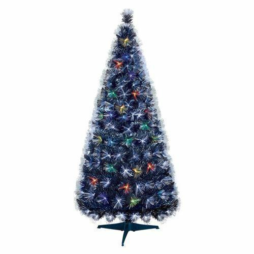 80cm Black Christmas Tree With Colour Changing And White Fibre Optic Lights