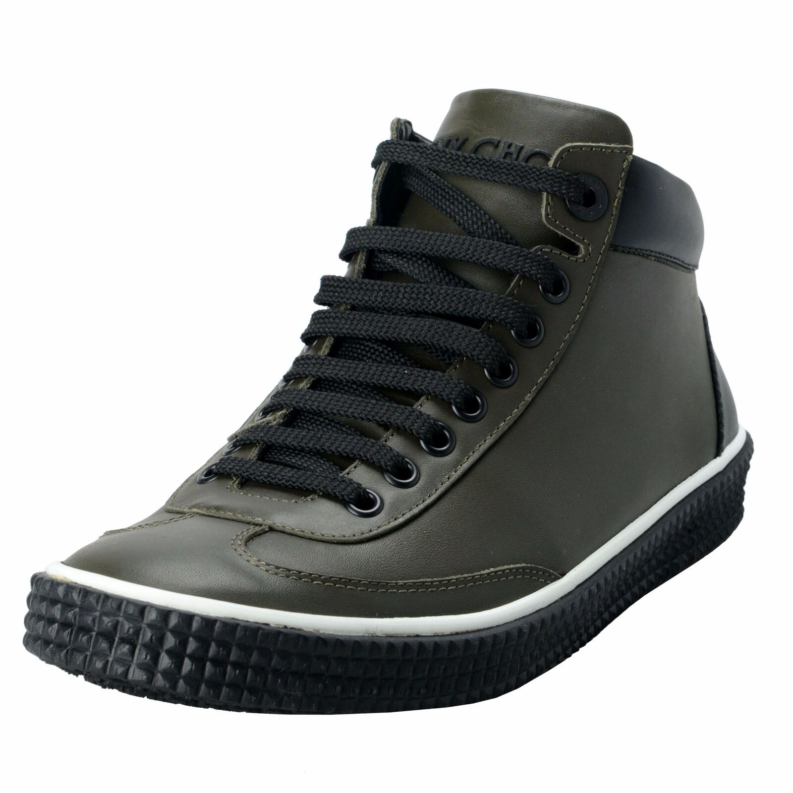Jimmy Choo Varley Men's Leather Forest verde Hi Top Fashion scarpe da ginnastica scarpe