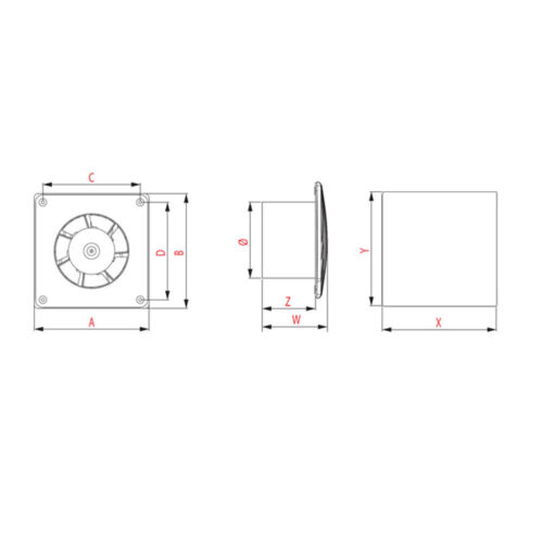 "Salle de bain extracteur ventilateur 100mm//4/"" moderne en métal acier inoxydable respirateur TI100"