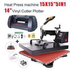 "15""x15"" 5 in 1 Heat Press Machine and 14"" Vinyl Cutter Plotter Digital Transfer"