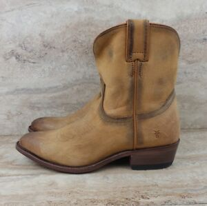 2be1001ec5a Frye Western Billy Short Ankle Boots Cognac Distressed Western Style ...