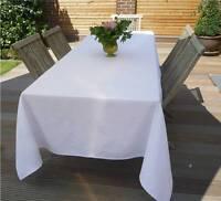 Tischdecke Jacquard 160x350 cm weiß Blümchen aus Frankreich mit Teflonschutz