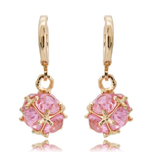 18K Yellow Gold Filled Elegant Crystal Ear Drop Dangle Earrings Women/'s Jewelry