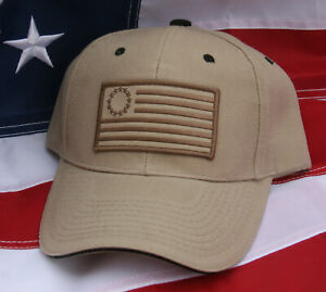 BETSY-ROSS-DESERT-TAN-CAMOFLAUGE-HAT-US-FLAG-PATCH-13-STARS-PIN-UP-NIKE-USA-CAP