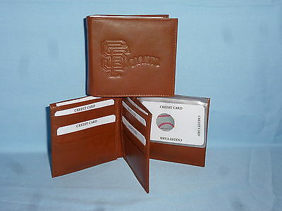 SAN FRANCISCO GIANTS   Leather BiFold Wallet    NEW    brown 4 +