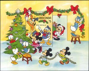 Redonda-1983-Disney-Navidad-saludos-Minnie-Donald-Dibujos-Animados-1v-m-s-b1480m
